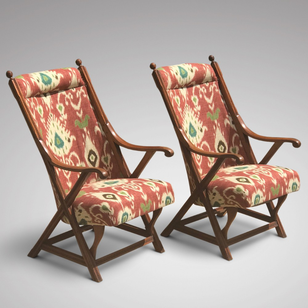 pair of 19th century aesthetic period open armchairs