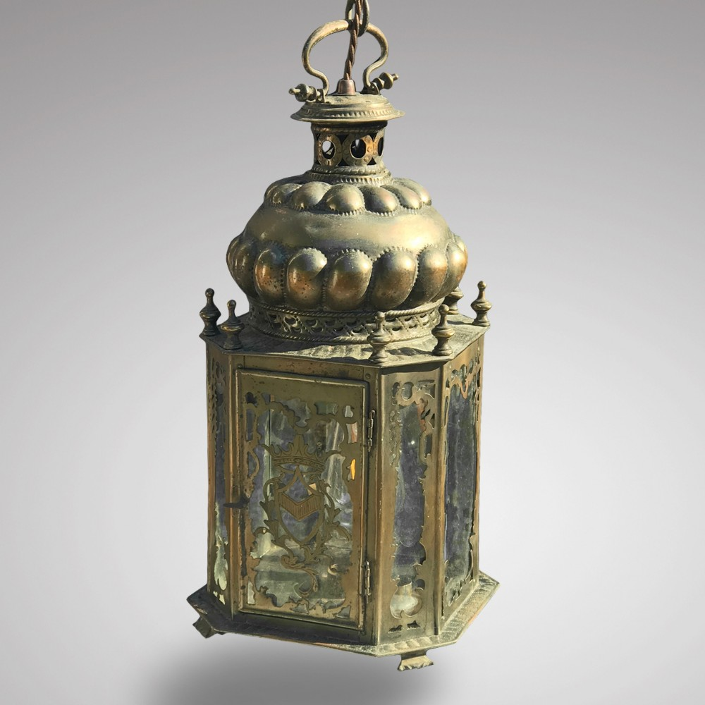 19th century dutch octagonal metal hall lantern