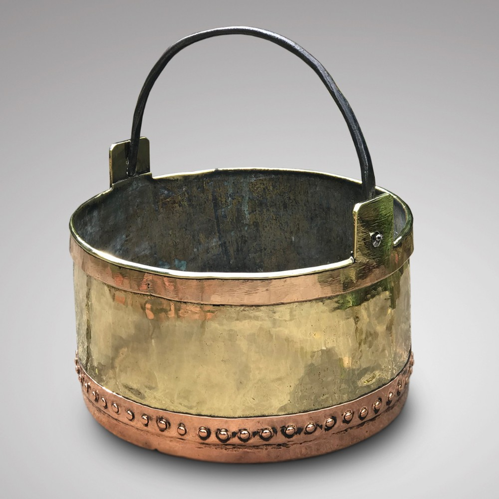 french copper brass riveted planter