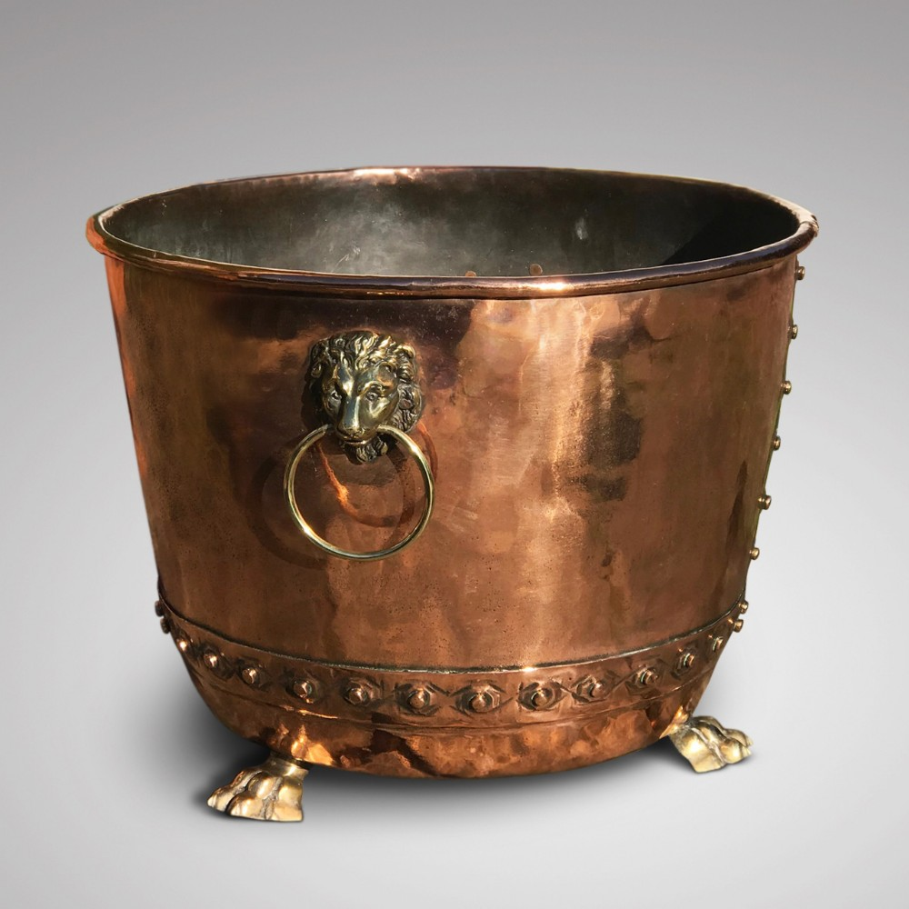 large 19th century copper seamed riveted log bin