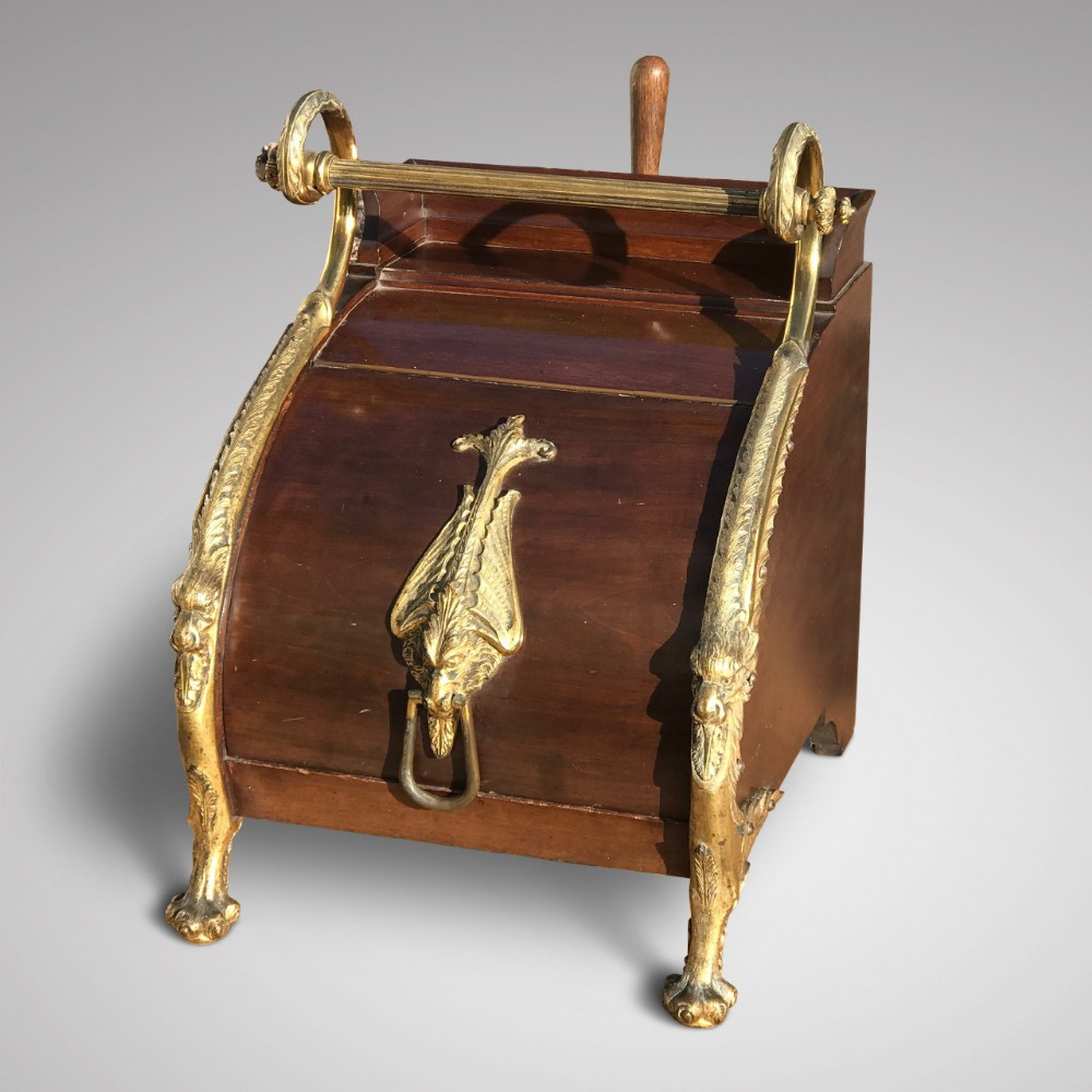 19th century mahogany gilt metal mounted coal box in the regency style