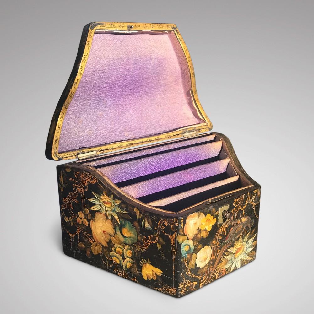 early victorian papier mache envelope box