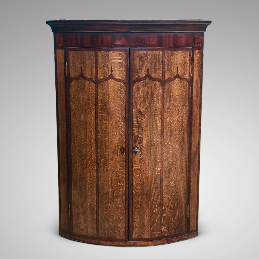 george iii bow fronted oak corner cupboard