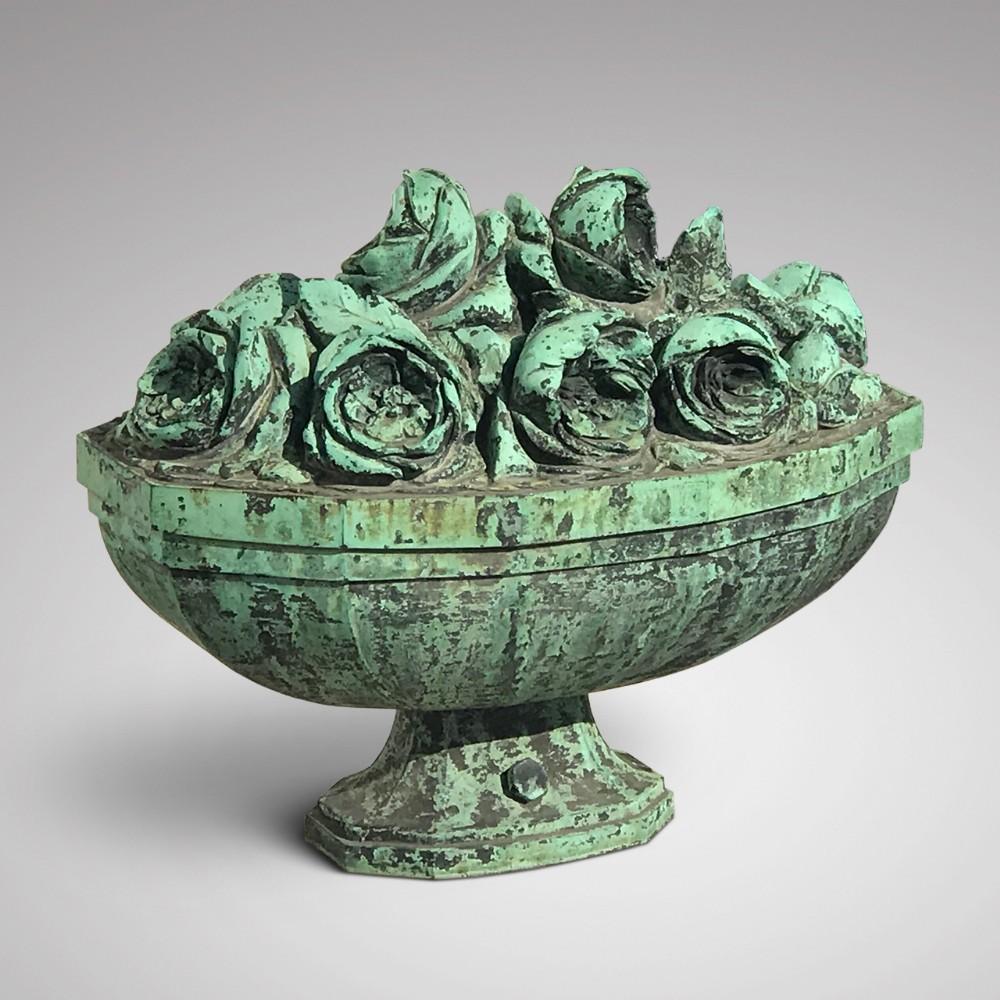 19th century bronze sculpture of vase of roses
