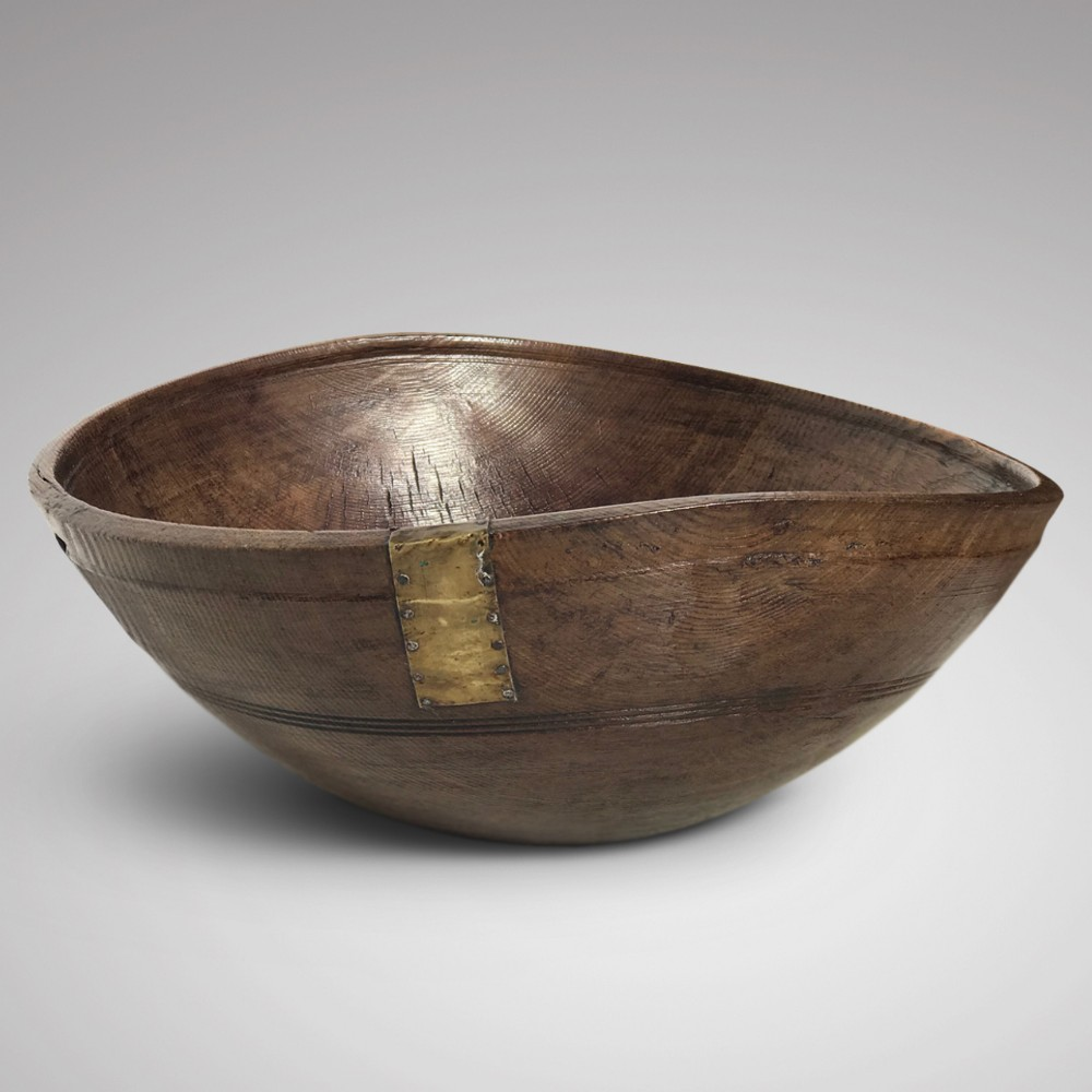 19th century treen dairy bowl