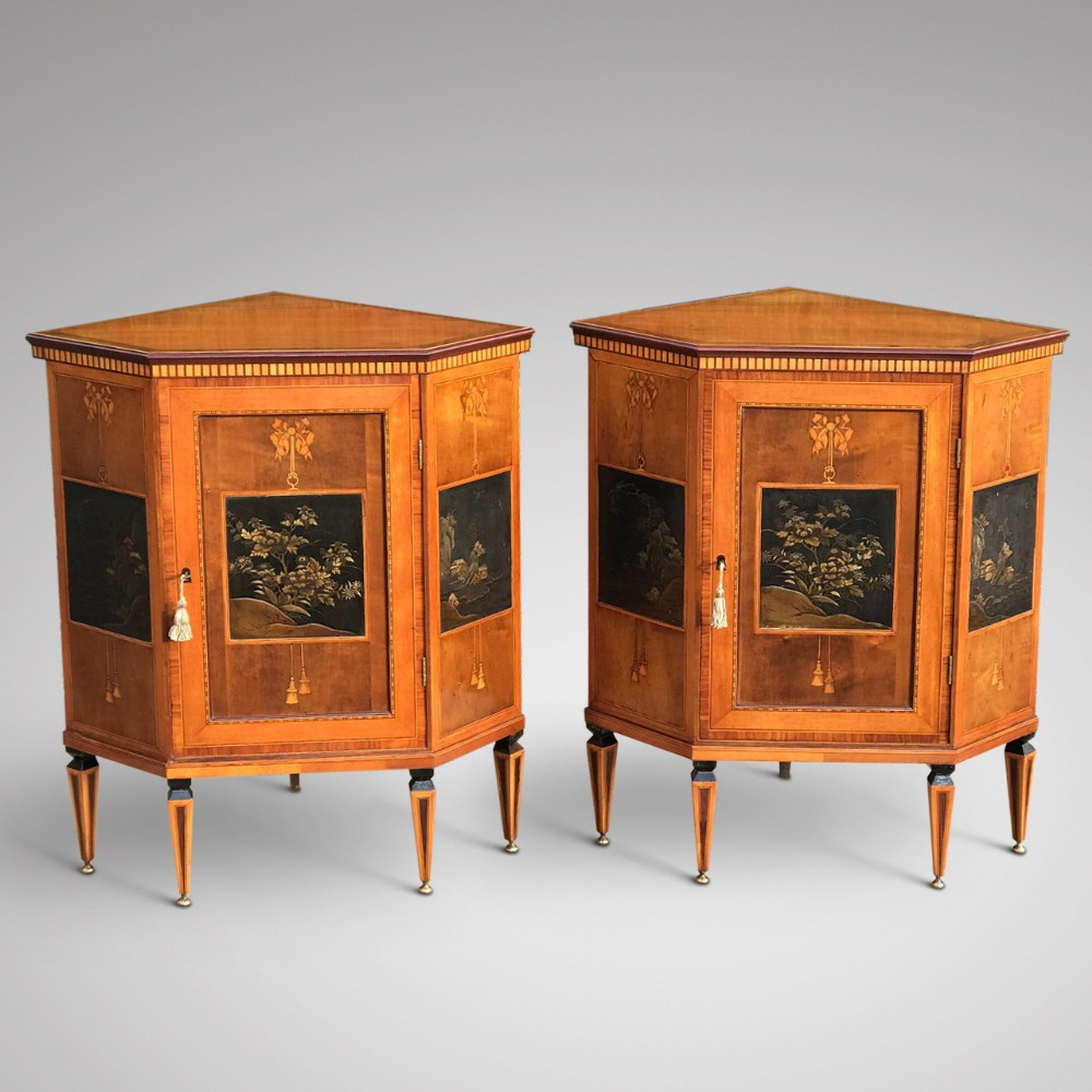 pair of 19th century exhibition quality corner cabinets