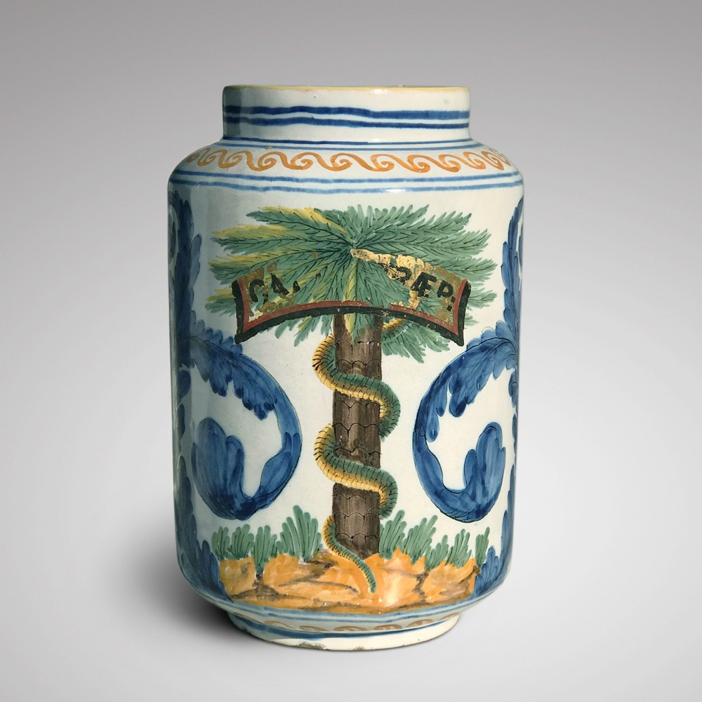 large 18th century italian tin glazed dry drug jar