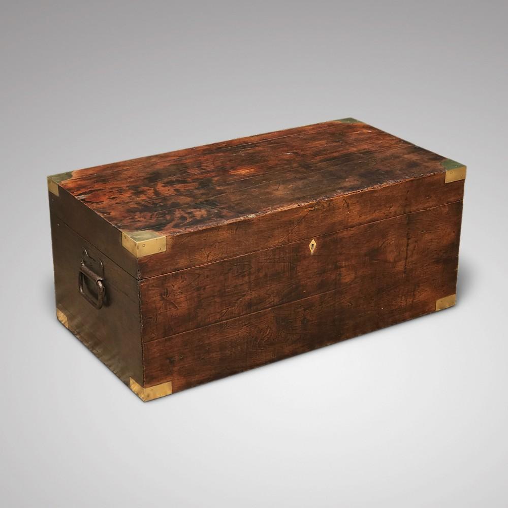 19th century teak brass cornered trunk