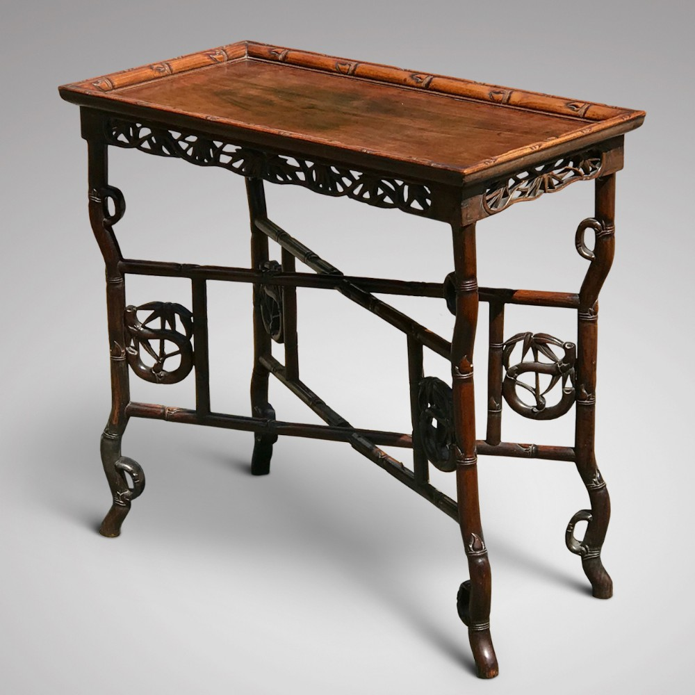 19th century chinese hardwood tray on stand
