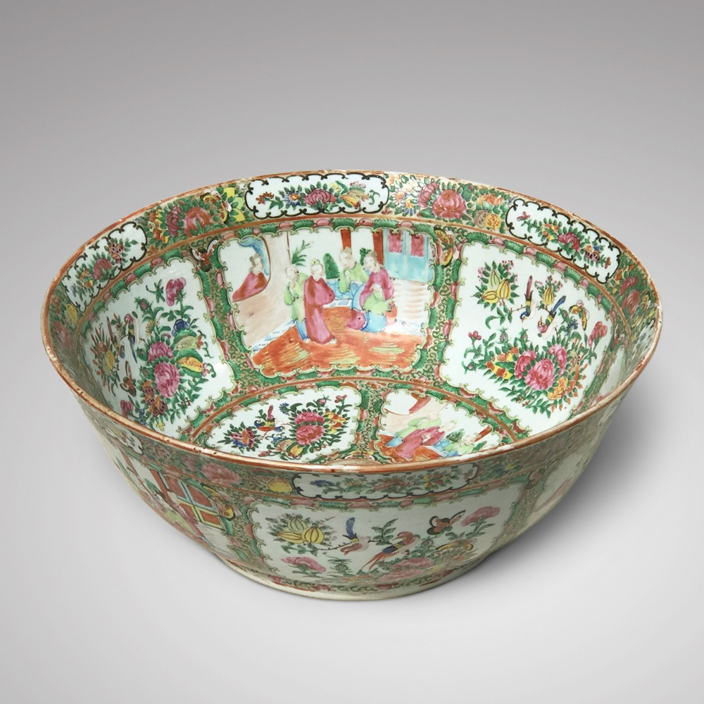 large 19th century cantonese famille rose enamelled bowl
