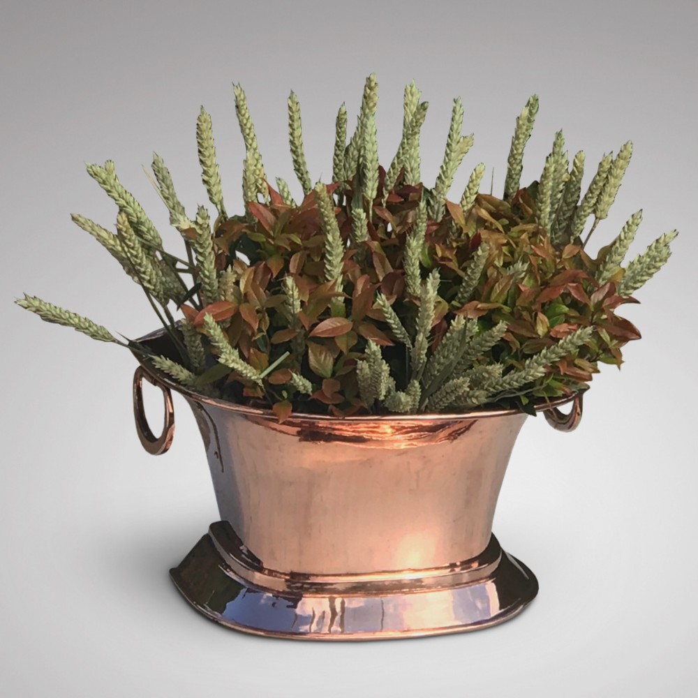 19th century twin handled copper wine cooler or planter