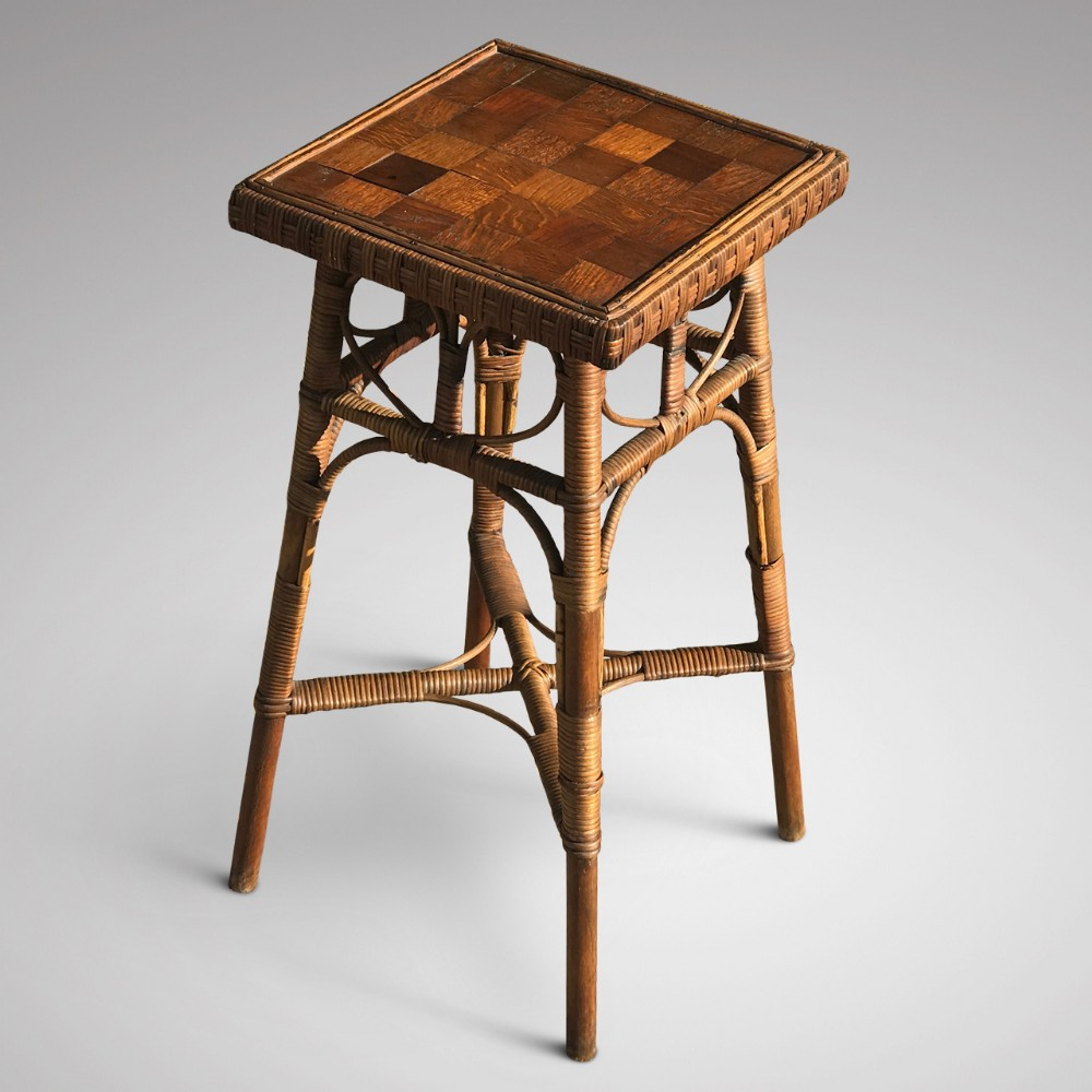 19th century rattan lamp table with oak parquet top