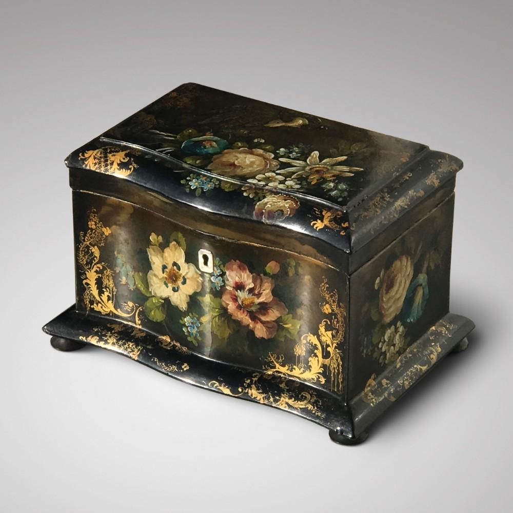 victorian serpentine papier mache tea caddy