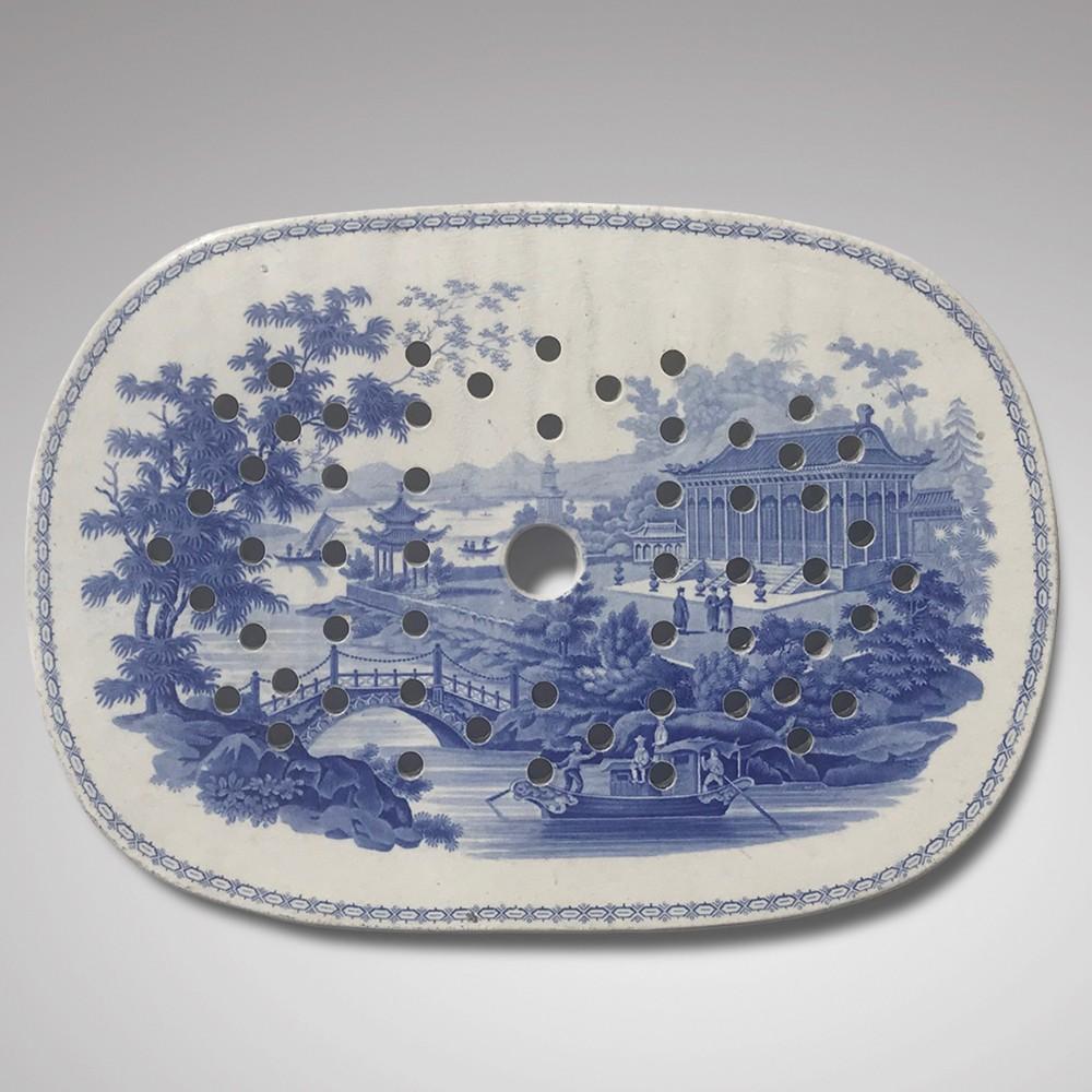 19th century staffordshire minton blue white drainer