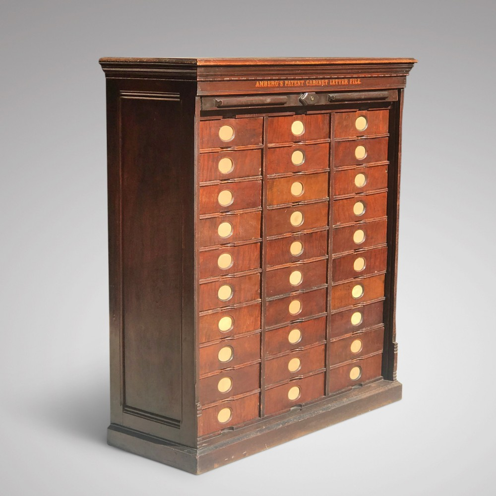 19th century mahogany amberg filing cabinet with tambour front