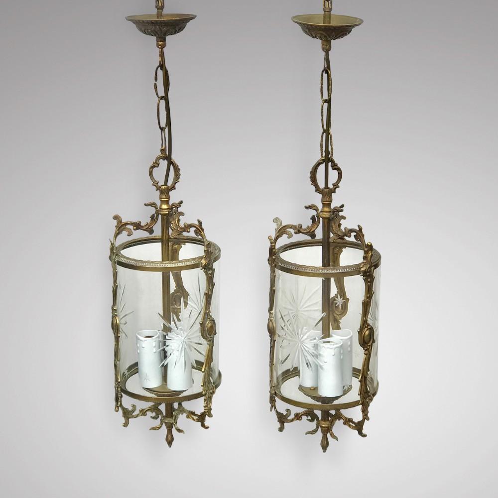 pair of antique gilt metal glass lanterns