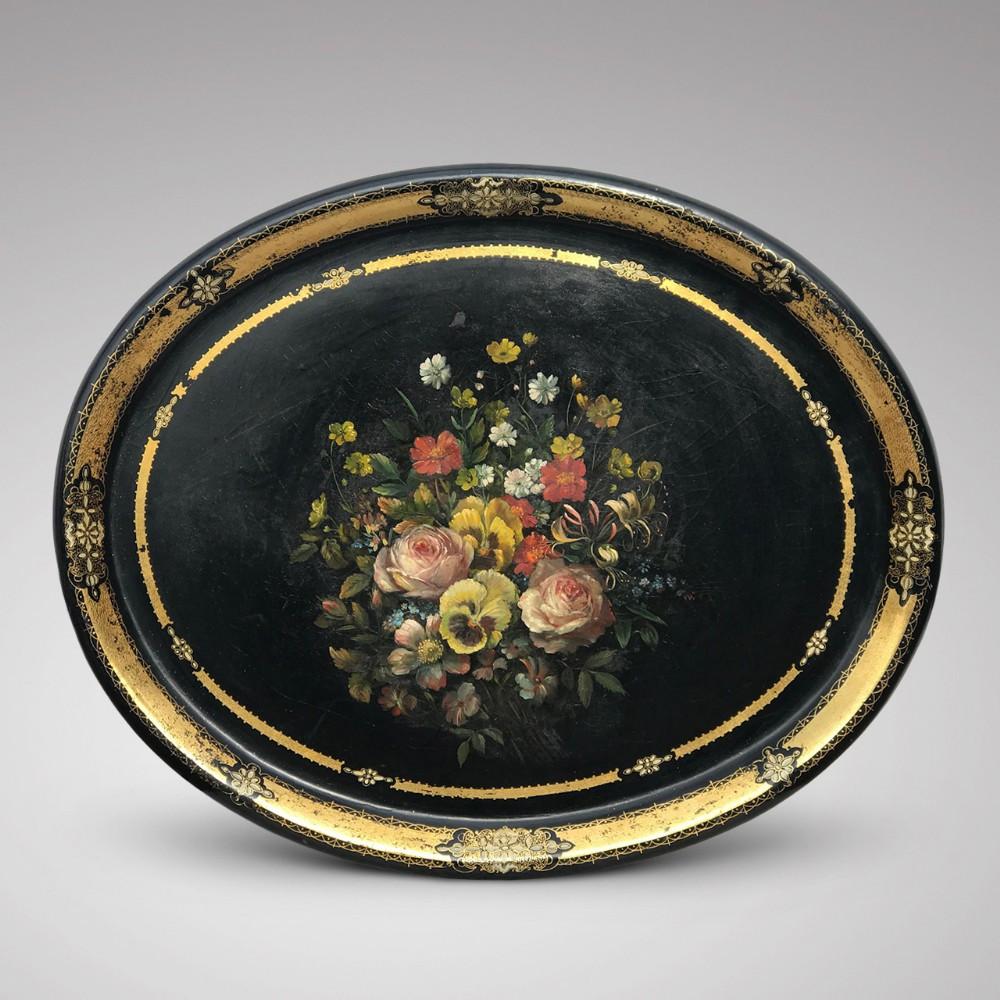 19th century oval papier mache tray