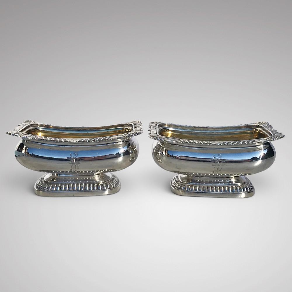 pair of georgian silver table salts by rebecca emes edward barnard