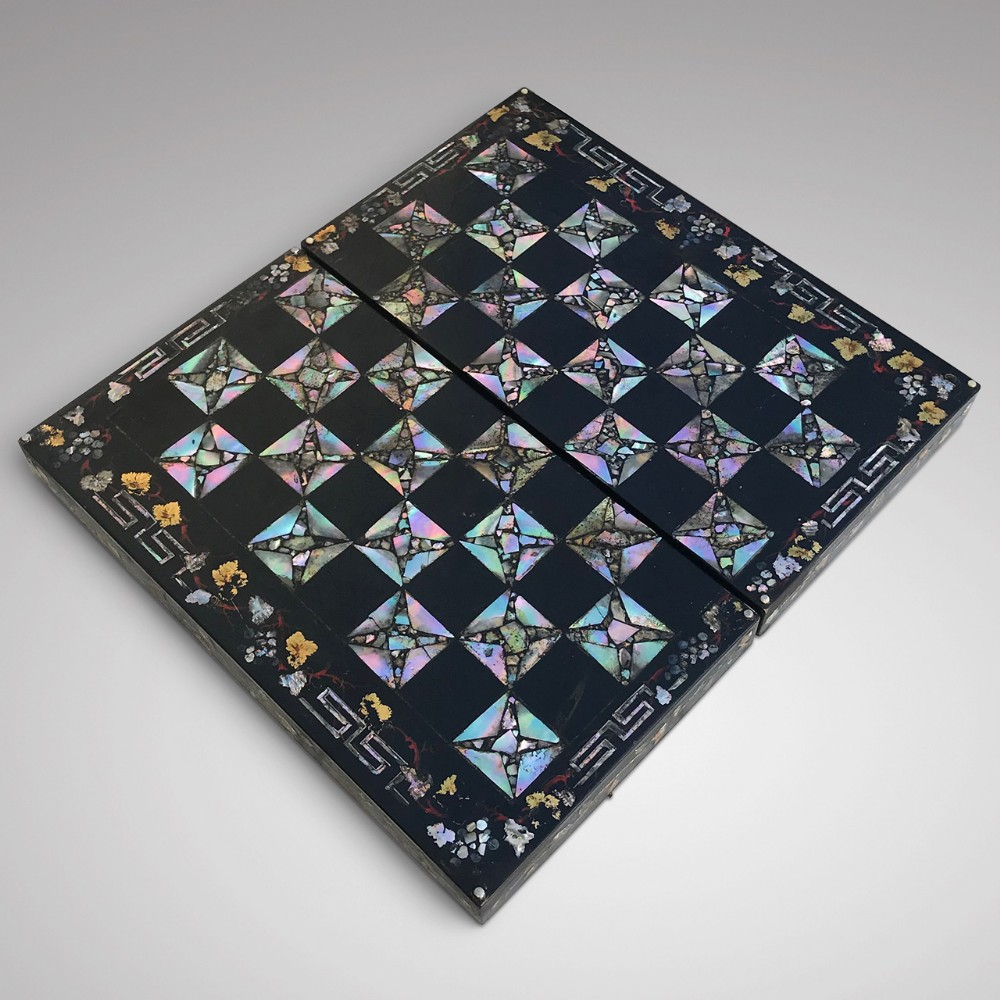 19th century mother of pearl chessboard with backgammon interior