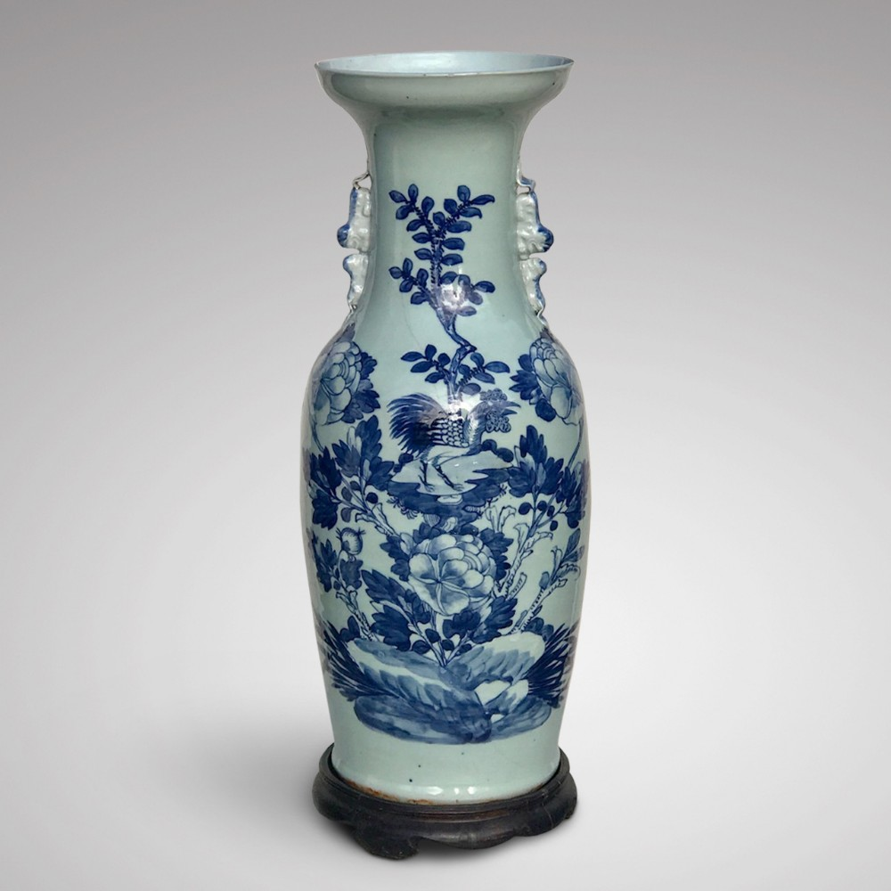 enormous 19th century chinese blue white vase