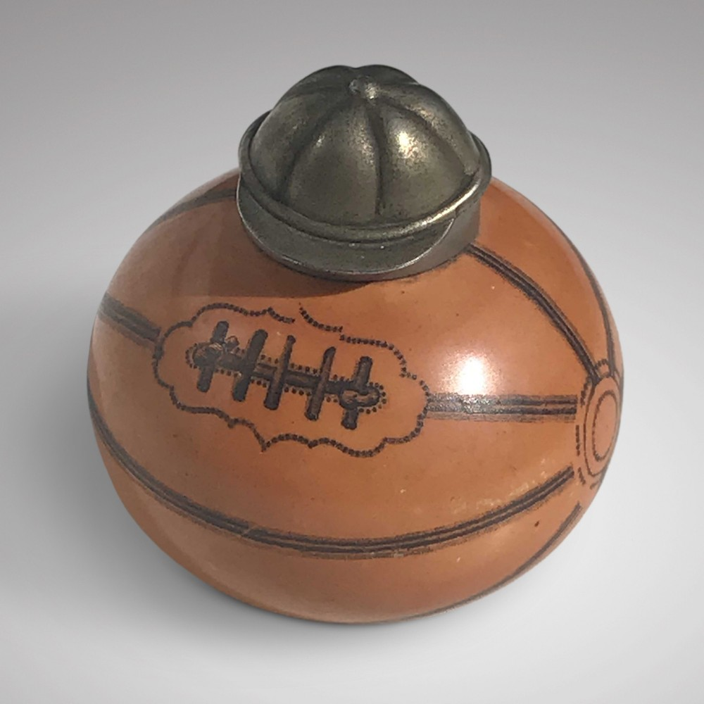19th century stoneware rugby ball inkwell