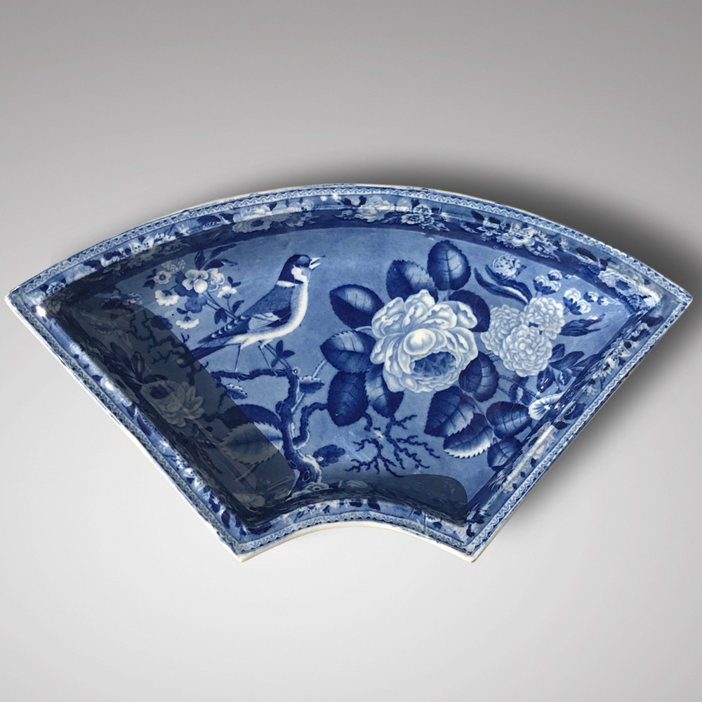 19th century blue white dish with goldfinch rose design