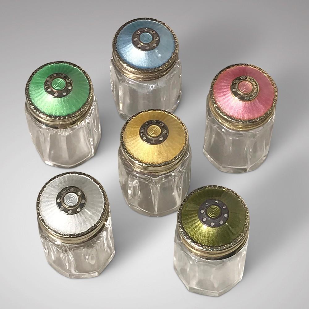 set of 6 guilloche enamel silver gilt pepperettes