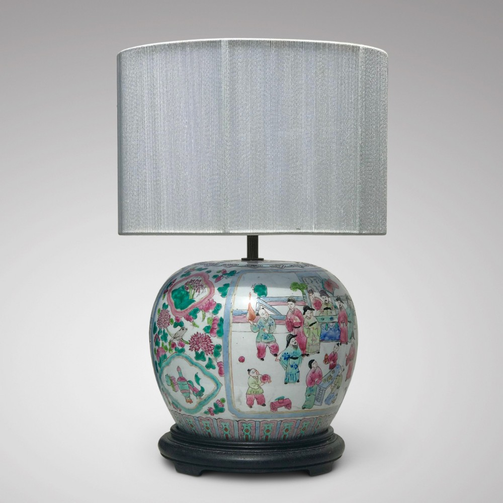 19th century chinese famille rose table lamp