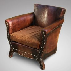 Hobson May Collection · PAIR OF LEATHER WING CHAIRS