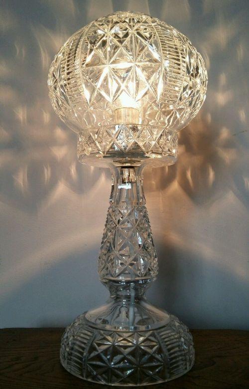 C1920 Cut Crystal Mushroom Table Lamp 397285