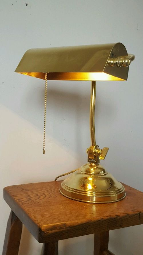 Edwardian Brass Desk Table Bankers Lamp With Pull Switch
