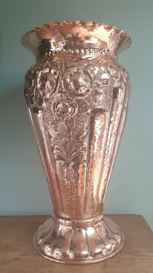 french art nouveau embossed copper stick stand urn c1880