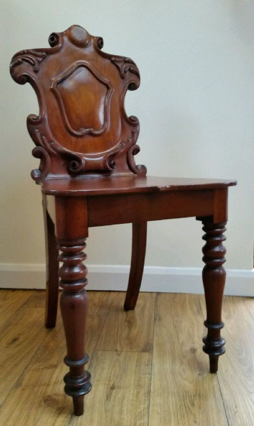 victorian c1880 shieldback carved mahogany hallbedside chair