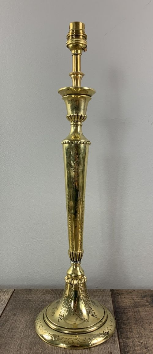 tall decorative converted candlestick brass table lamp rewired and pat tested
