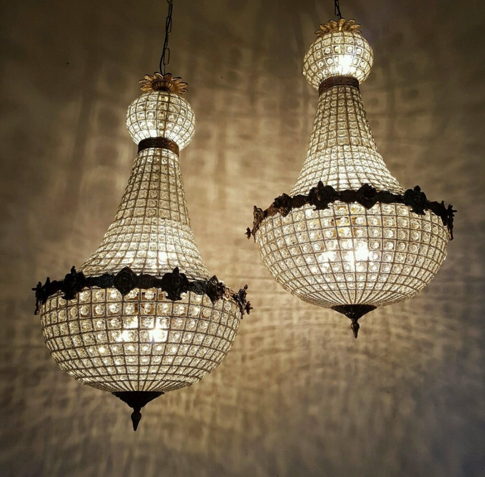 Pair of large empire style 1920s antique basket chandeliers pair of large empire style 1920s antique basket chandeliers arubaitofo Gallery