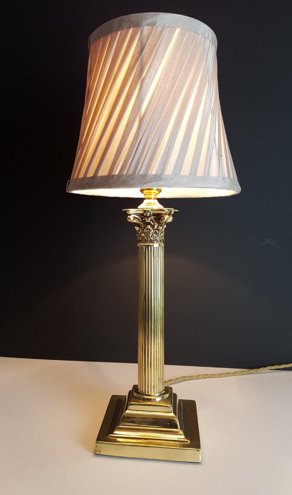 C1920 brass corinthian column table lamp with champagne twist c1920 brass corinthian column table lamp with champagne twist pleat shade rewired greentooth Choice Image