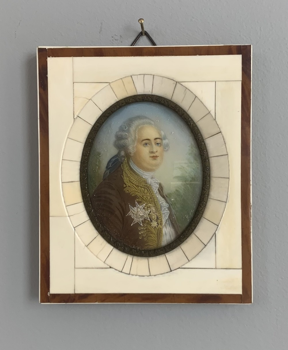 19th century miniature of louis xvi in ivory frame