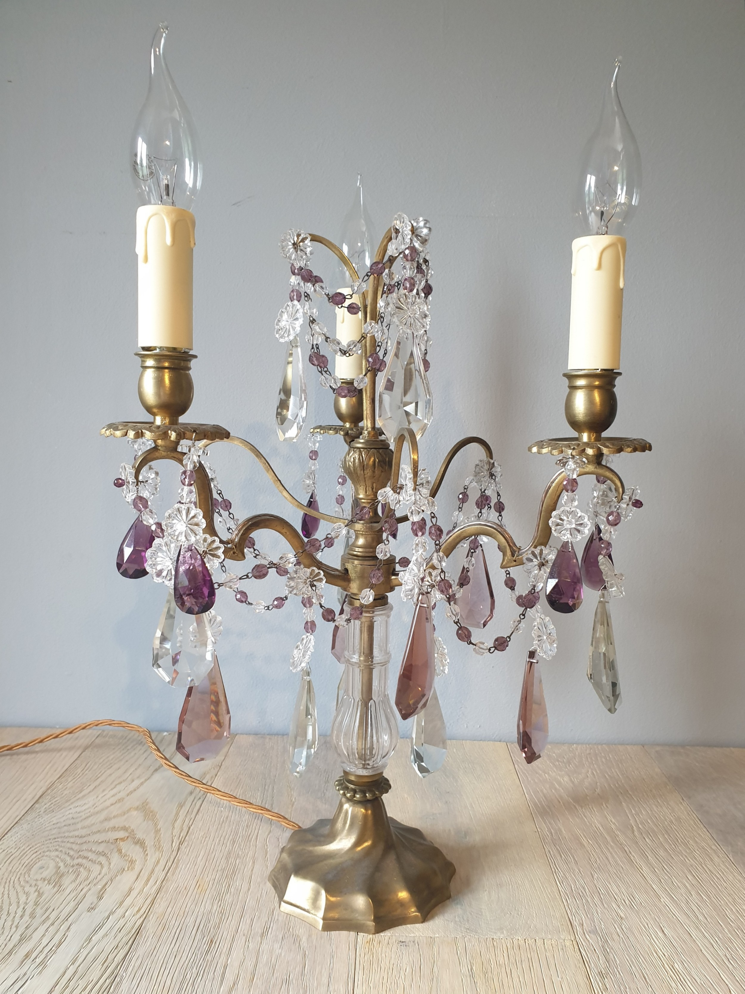 c1930 french 3 arm gilded brass crystal candelabra rewired and pat tested