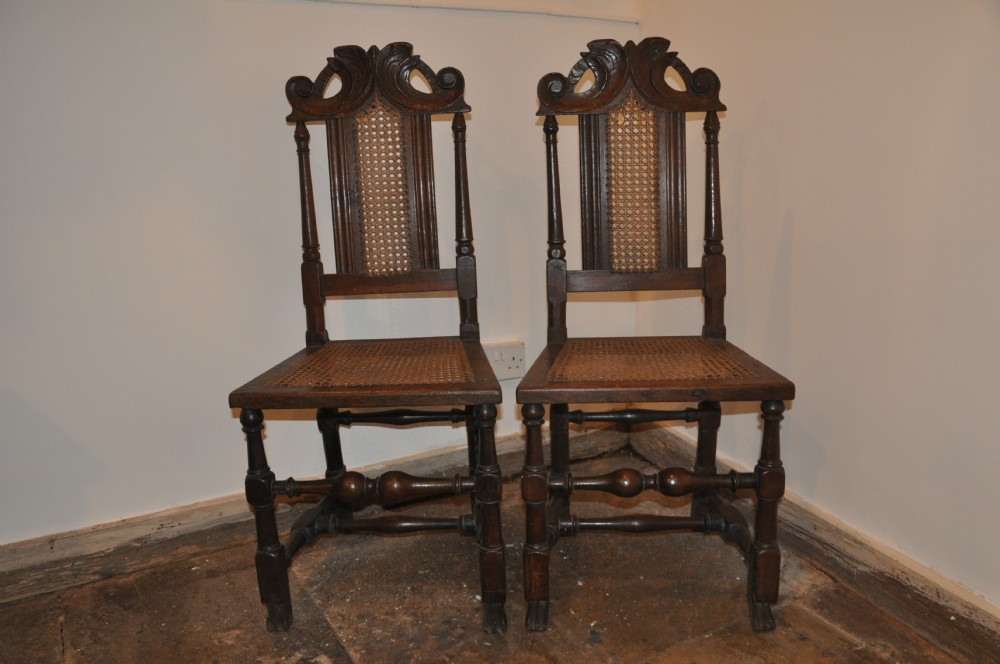 pair of charles 2nd oak side chairs