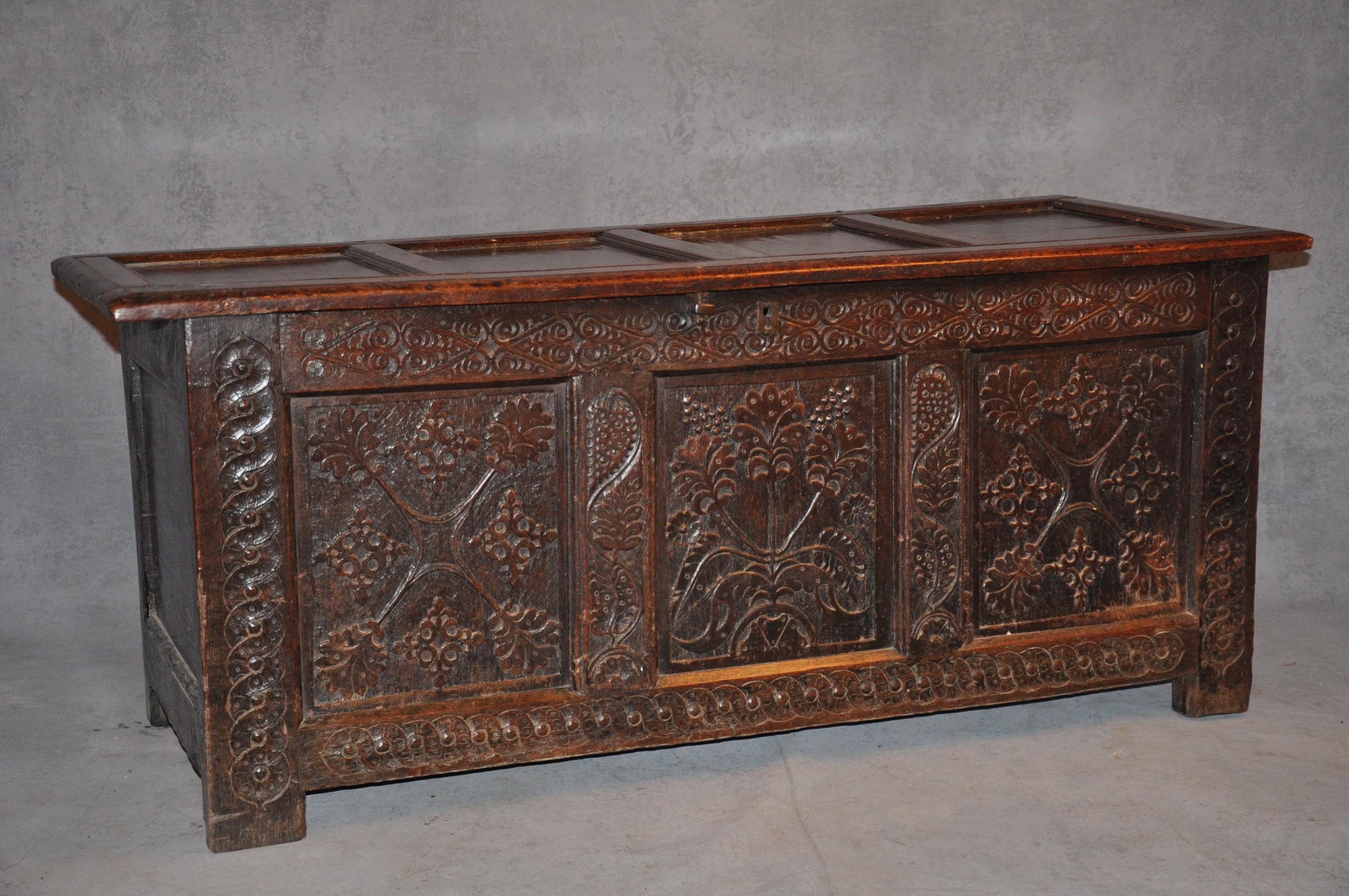 17th century paneled oak coffer