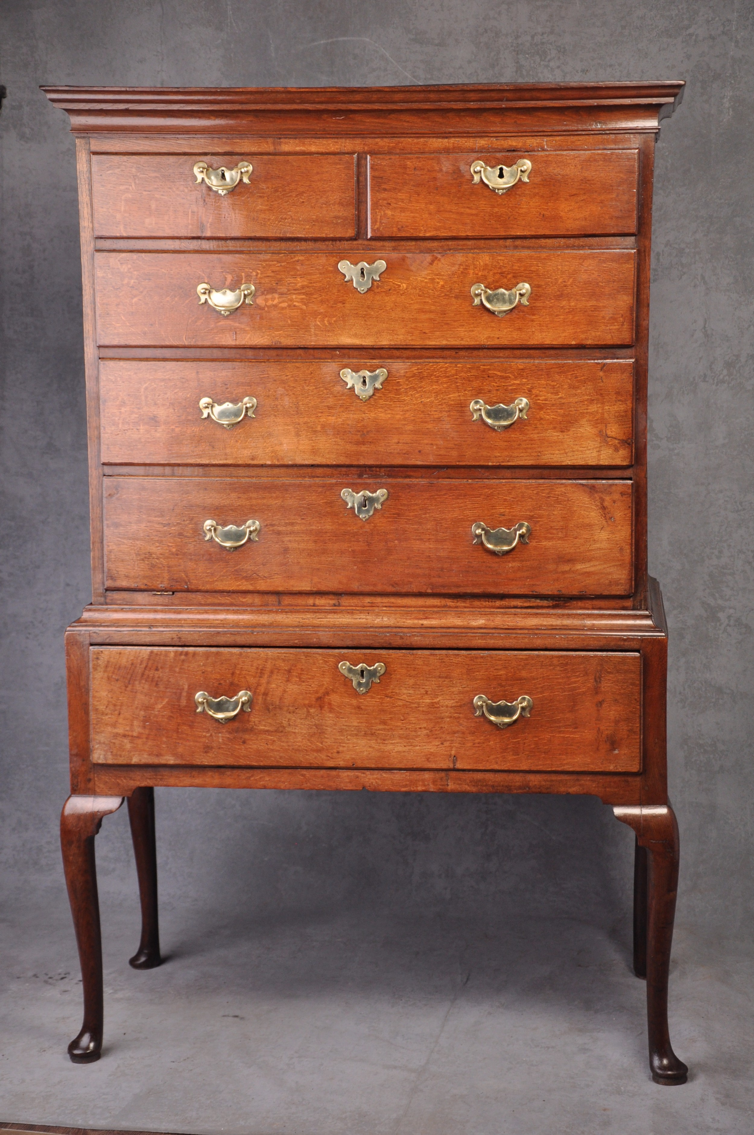 fine 18th century oak secretaire chest on stand