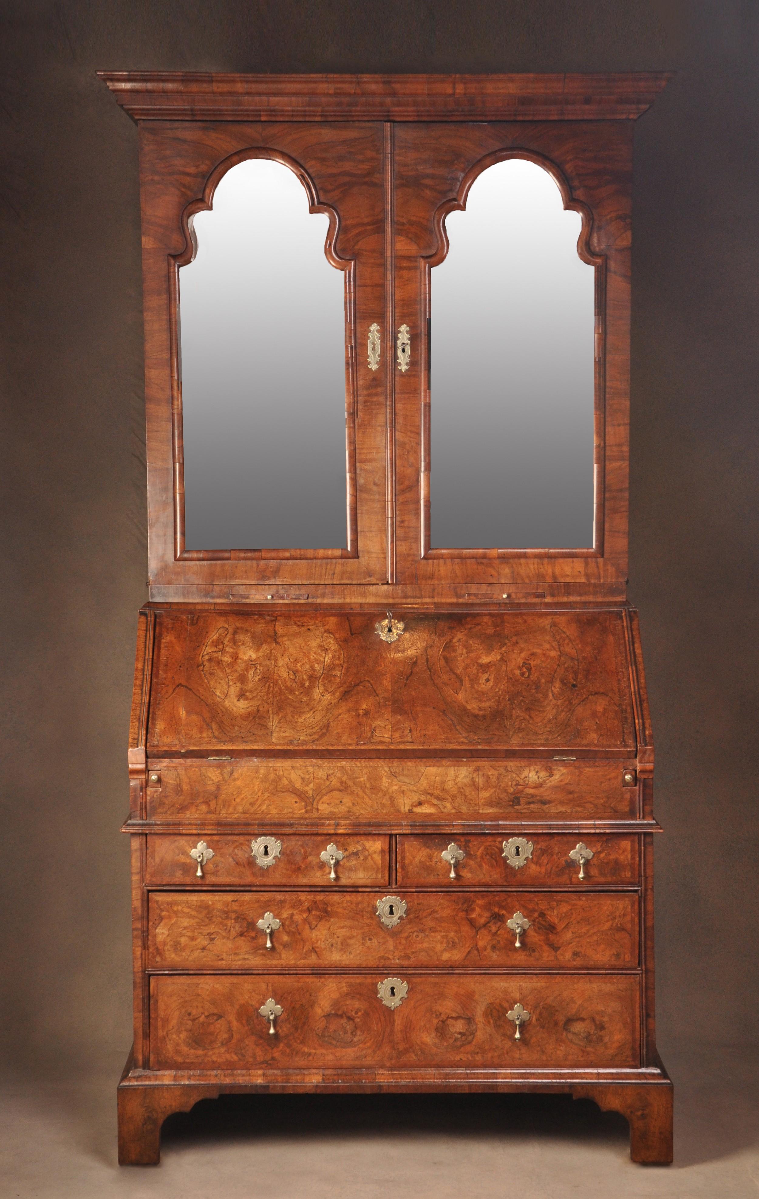 queen anne walnut bureau cabinet