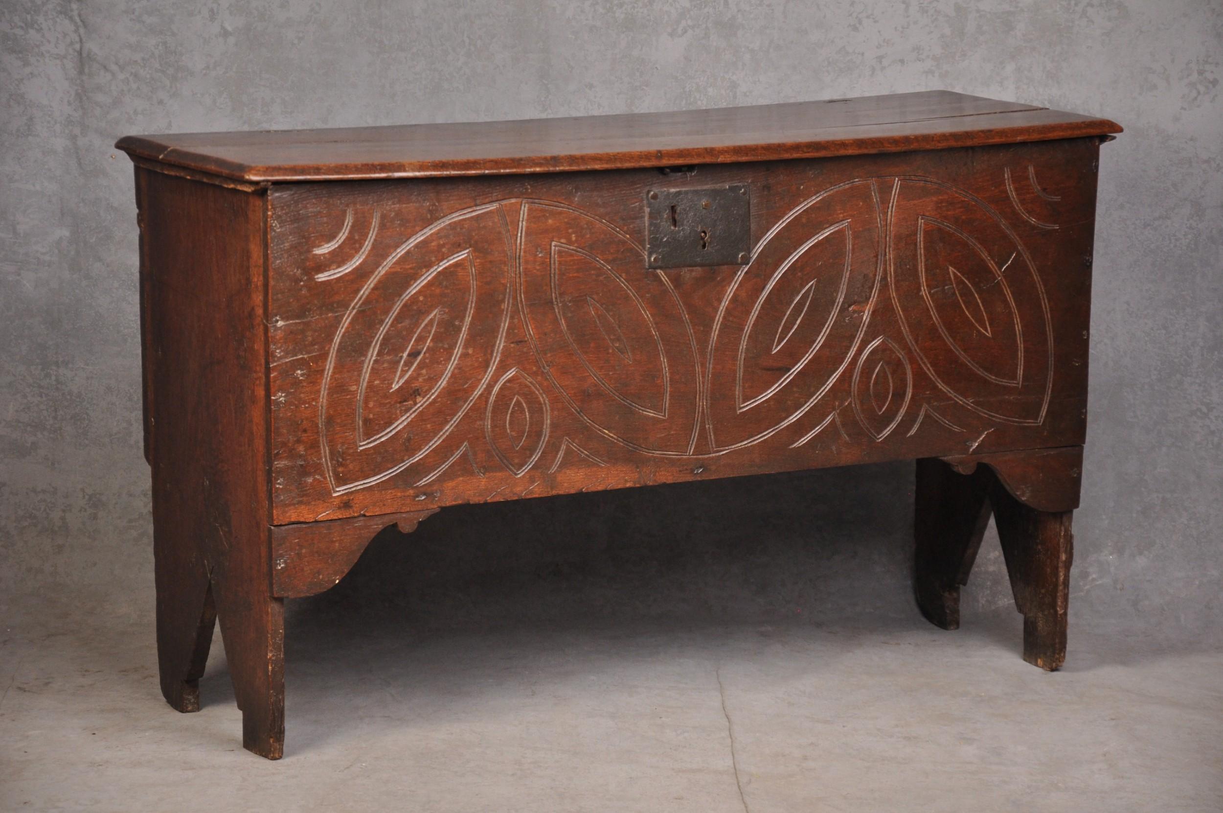 small 17th century oak coffer