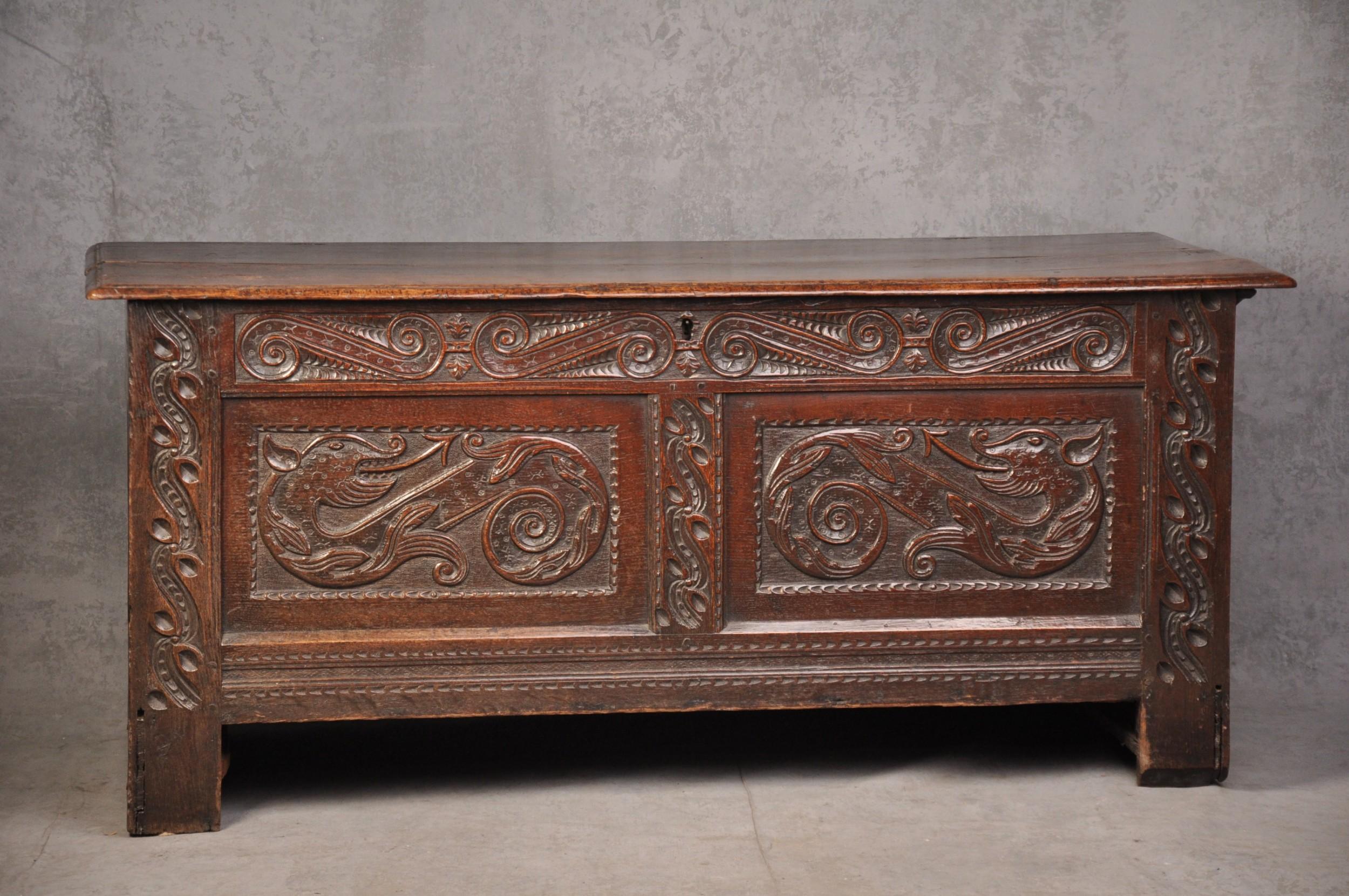 a rare 17th century oak coffer