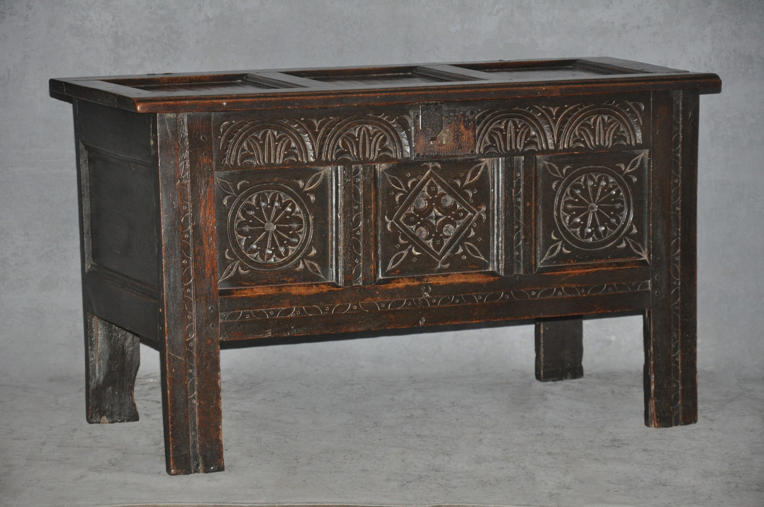 small 17th century panelled oak coffer
