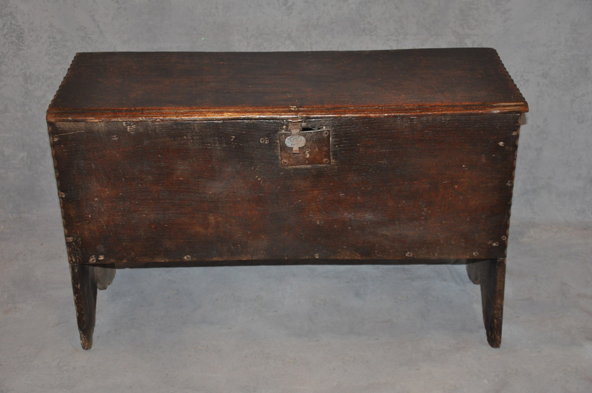 small 17th century oak plank coffer