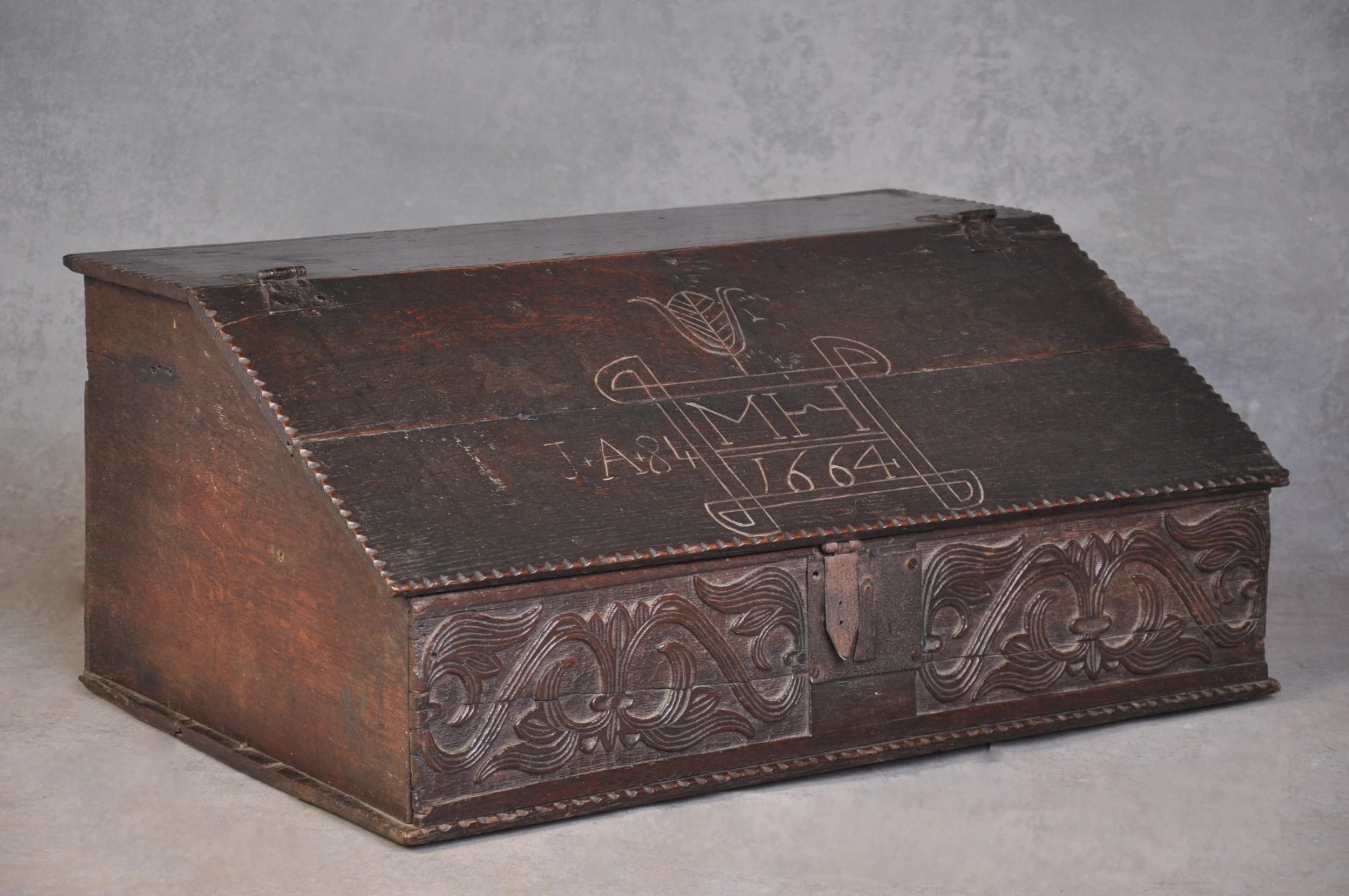 17th century dated oak box
