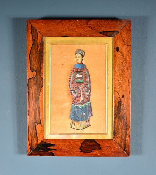 chinese painting of a female court attendant rosewood frame late 19th c