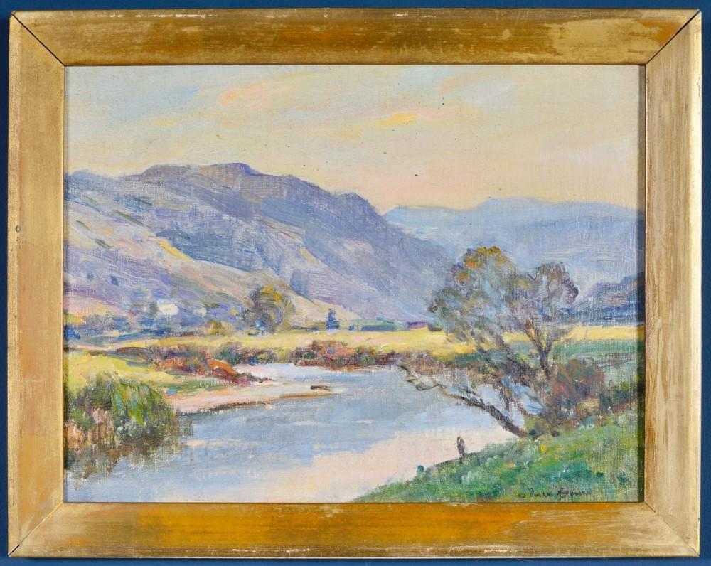 owen bowen staithes group 18731967 a river landscape oil on canvas board signed c1910