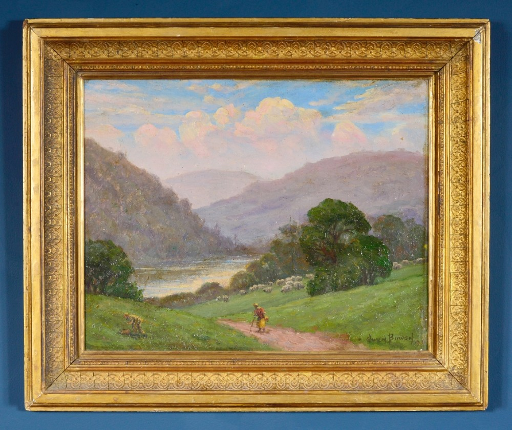 owen bowen staithes group 18731967 wharfe valley yorkshire oil on canvas board signed and dated 1901